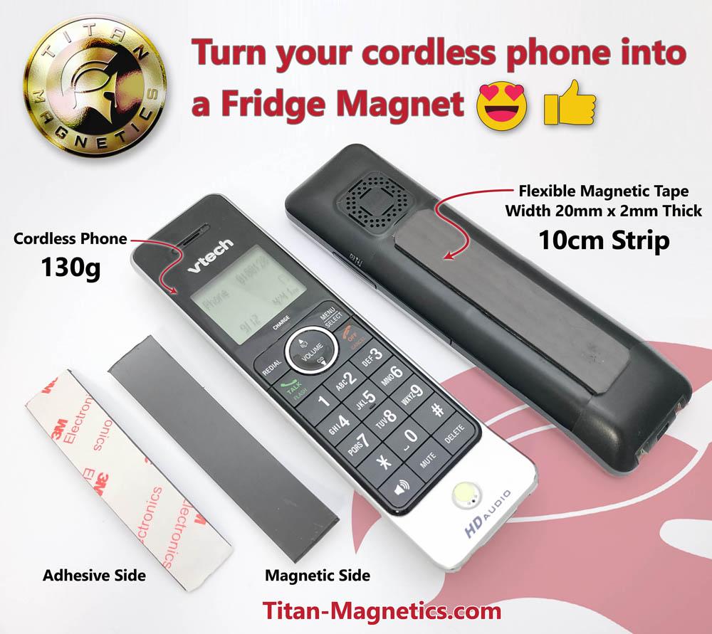 10cm Magnetic Tape on Cordless Phone Convert to Fridge Magnet