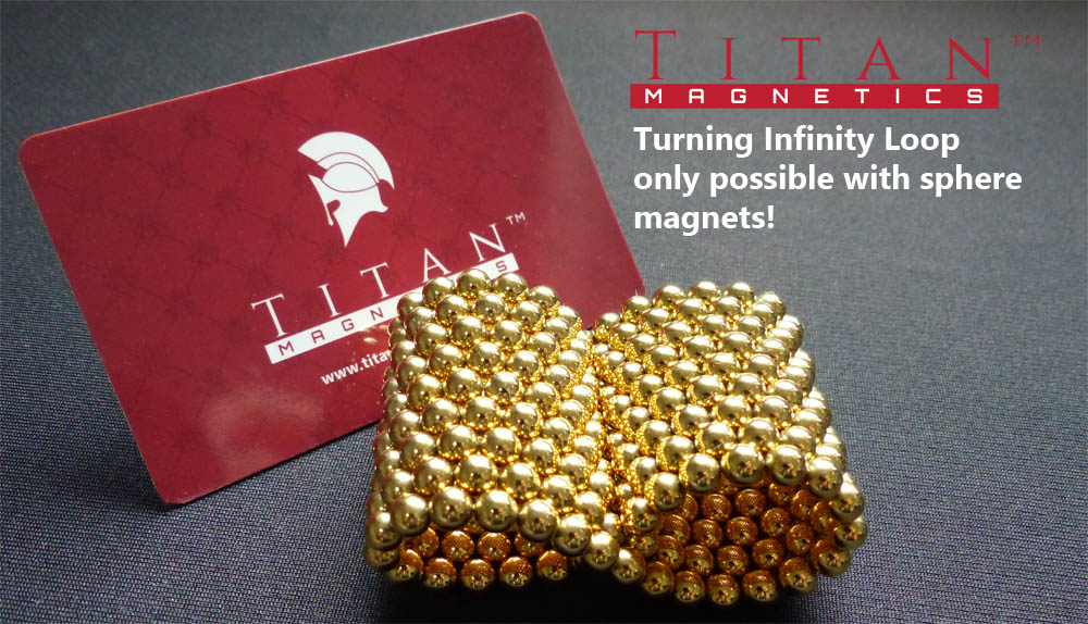 Gold Plated Infinity Loop with 5mm Sphere Magnets