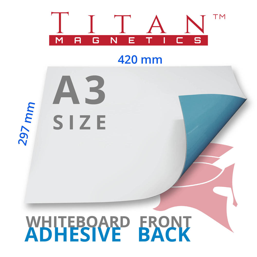 A3 Magnetic Whiteboard Sheet with Adhesive