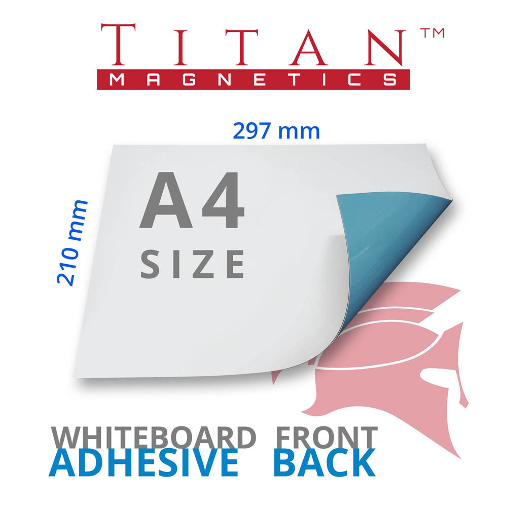 A4 Magnetic Whiteboard Sheet with Adhesive back