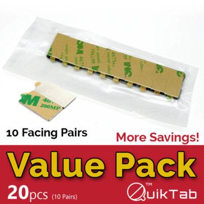 QuikTab Value Pack 20pcs Block Neodymium Magnets with 3M Adhesive AM-20x10x1