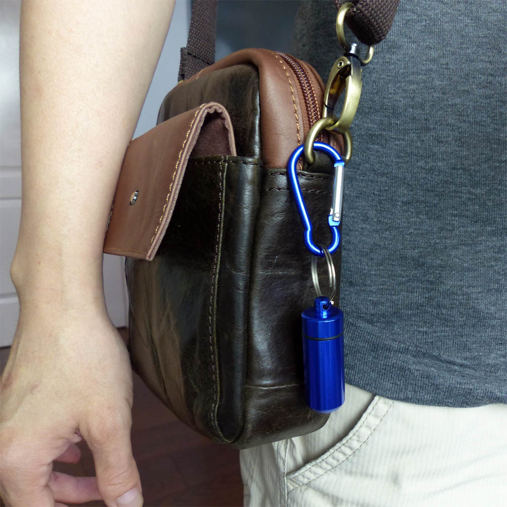 Aluminium Capsule Case on slingbag