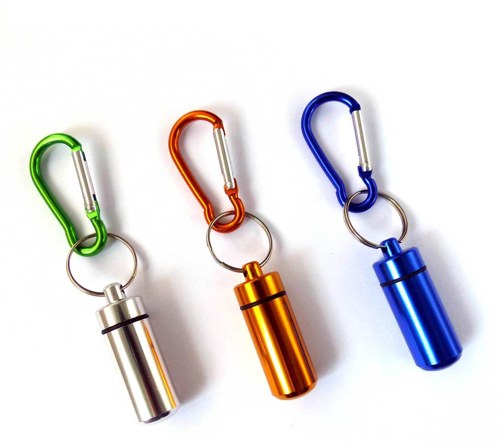 Aluminium Capsule Case with Carabiner various colors