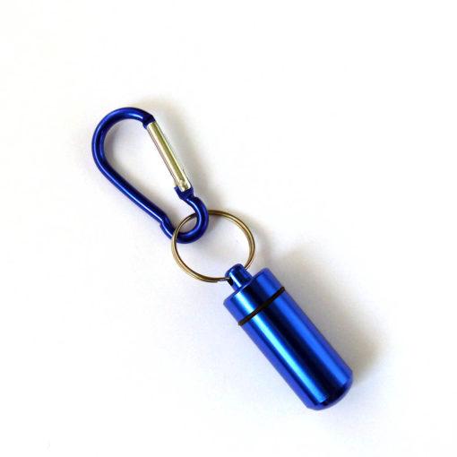 Aluminium Capsule Case with Carabiner-Blue
