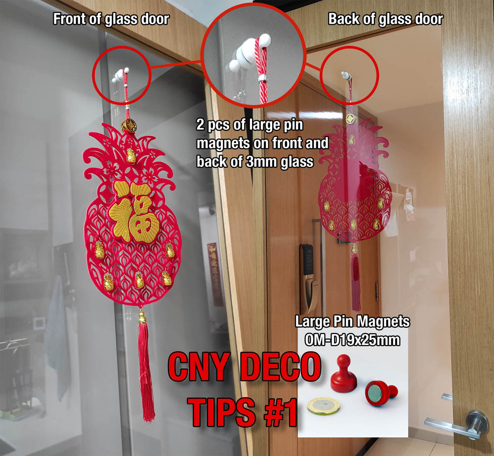 CNY Deco Tips Large Pin Magnets on glass door