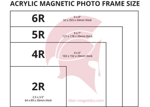 Clear Acrylic Magnetic photo holder size chart