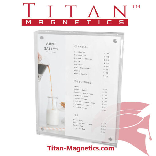 Clear acrylic menu display magnet