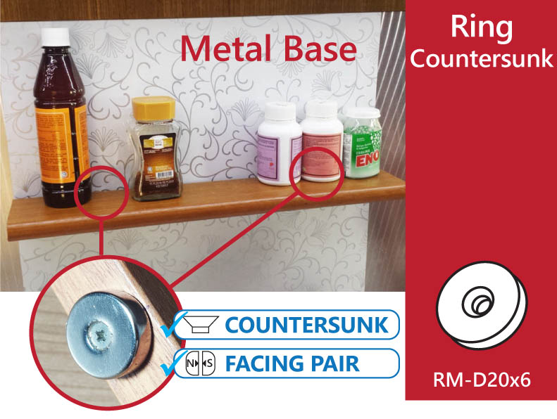 Countersunk Magnets For Magnetic Floating Shelve