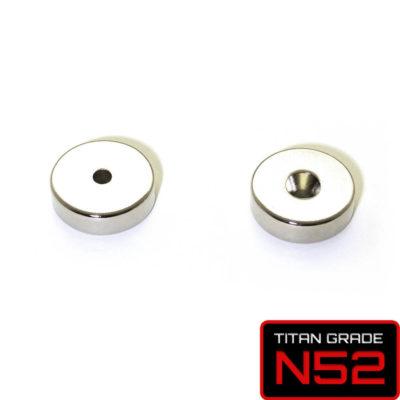 Countersunk Rare Earth Magnet D20mm Facing Pair