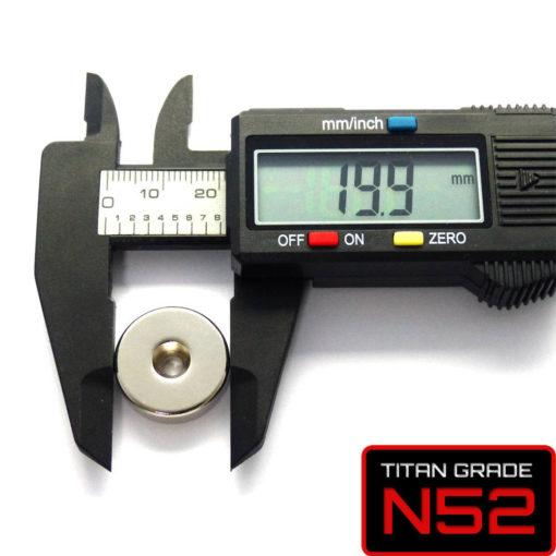 N52 Rare Earth Countersunk Magnet Dia. 20mm