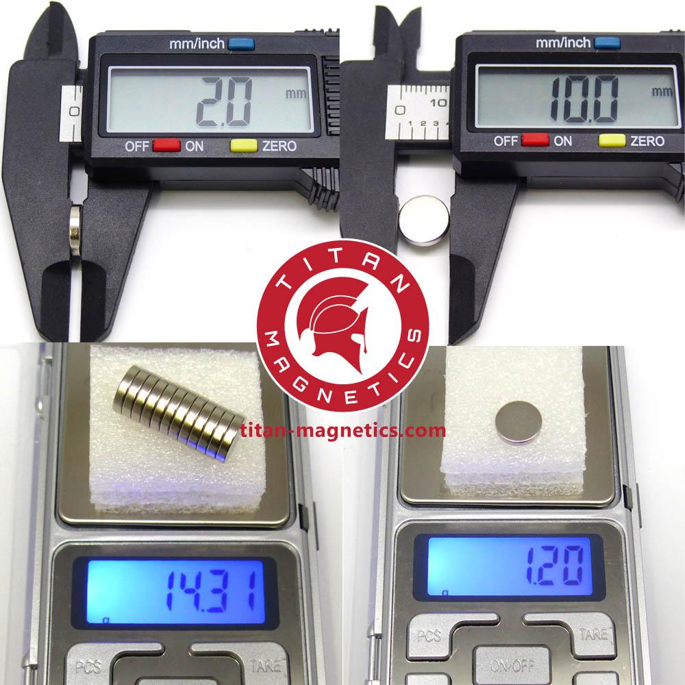 Neodymium Magnets D10x2mm-Specs