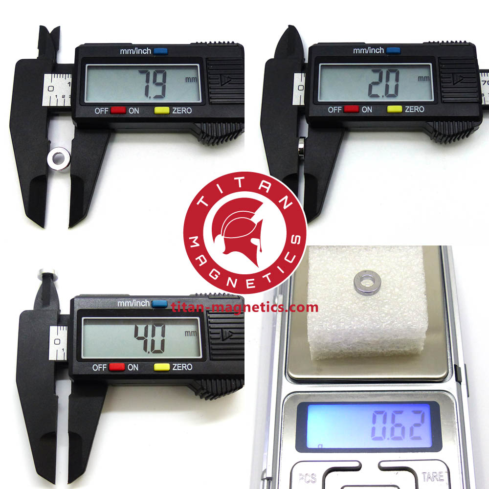 D8xID4x2mm Neodymium Ring Magnet Specification