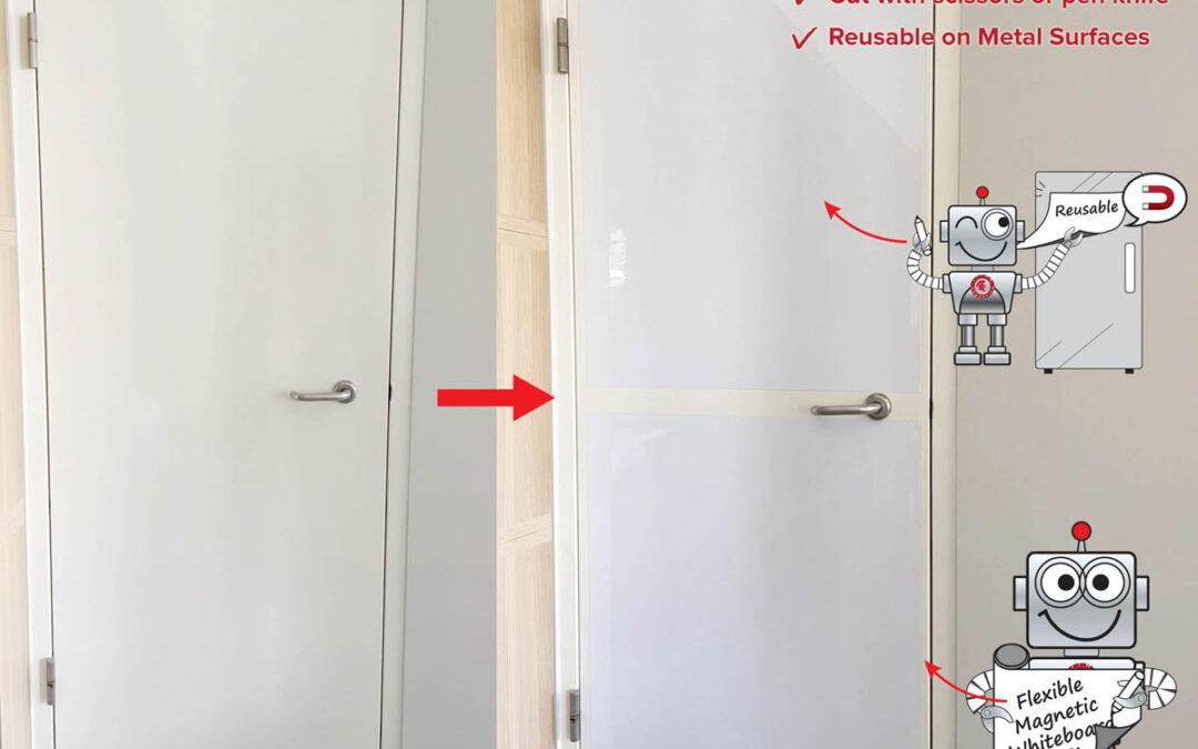 Flexible Magnetic Whiteboard on Storeroom Metal Door