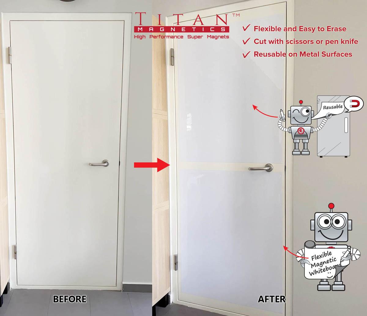 Flexible Magnetic Whiteboard on BTO Storeroom Metal Door