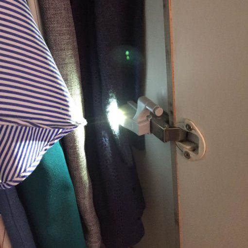 battery operated LED trigger light in wardrobe