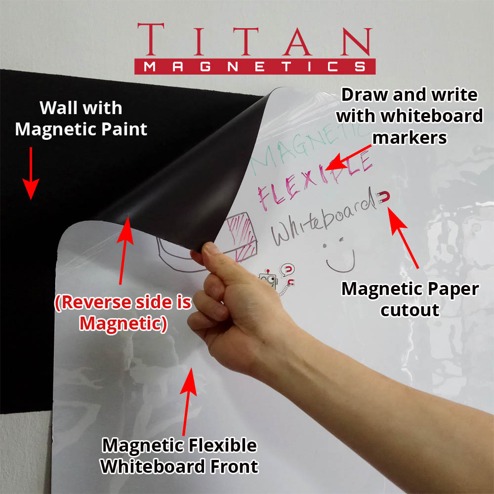 Flexible Magnetic Whiteboard With Magnetic Back Attach To