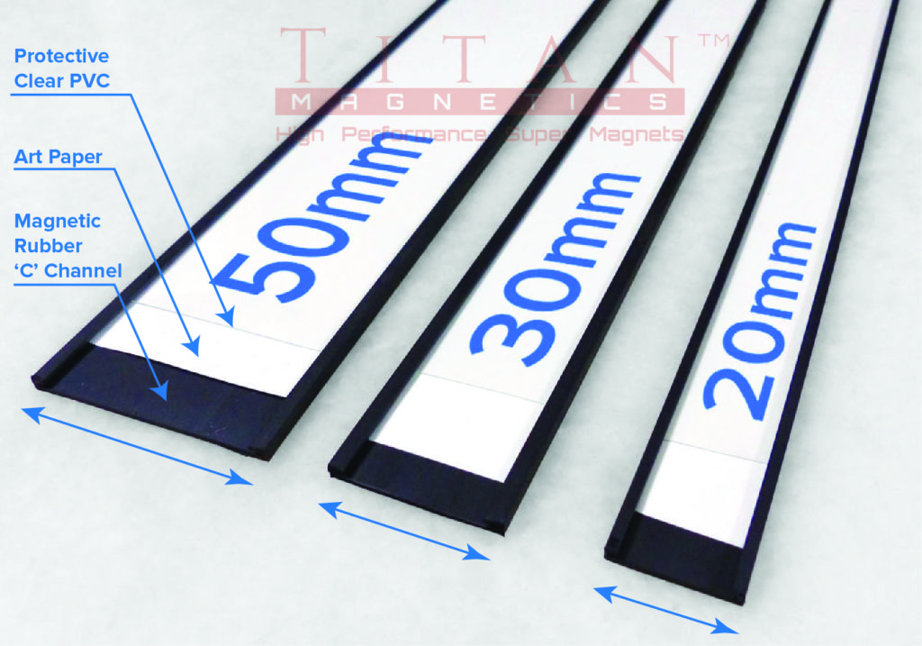Magnetic C Profile Signs with Paper Label and Clear Protective PVC Inserts