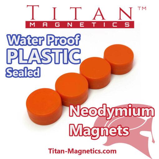 Neodymium Magnet Encased in Plastic Orange