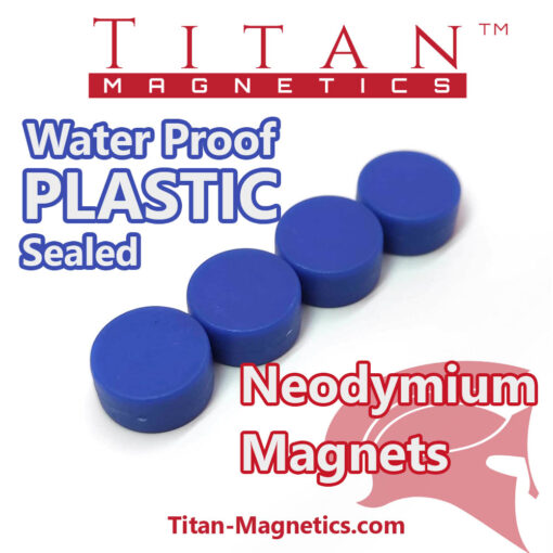 Water Proof Neodymium Magnet Plastic Coated Blue