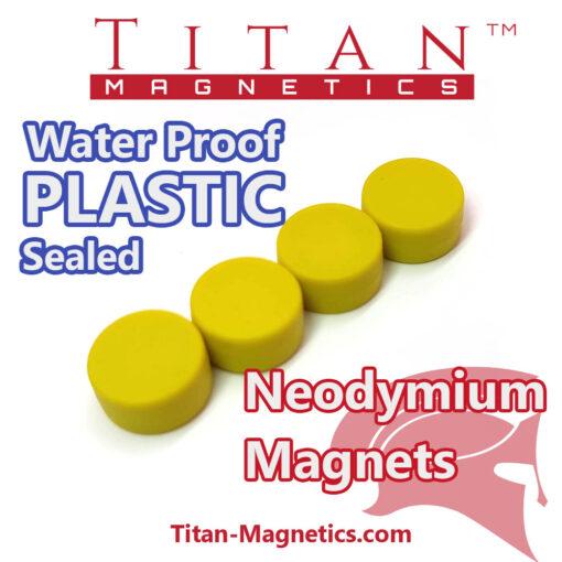 Neodymium Magnet in Plastic case Yellow Colour