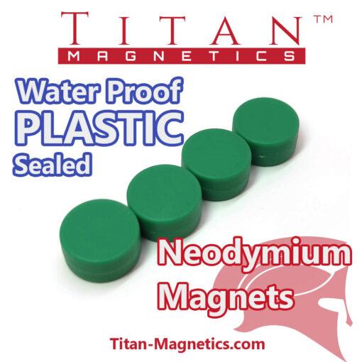 Neodymium Magnet in Waterproof Plastic Coating - Green