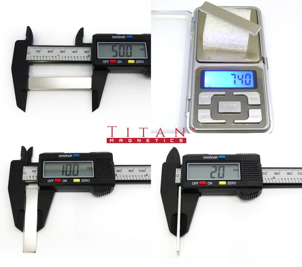 Neodymium Magnet Specs 50x10x2mm