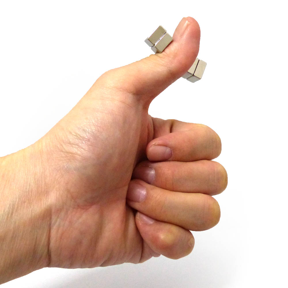 Square Neodymium Magnets Pinch Thumb
