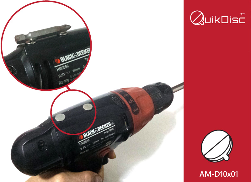 Adhesive Magnets on Cordless Driver holds spare bits