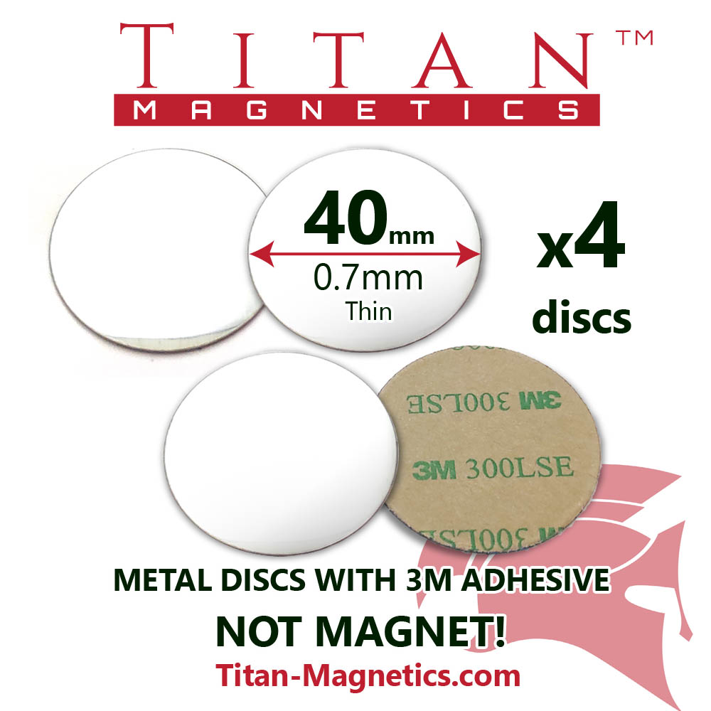 Slim Metal Base for magnets dia 40mm 4pcs set