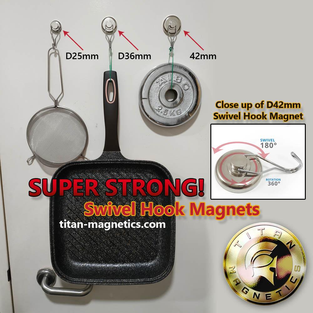 Swivel Hook Magnets hanging pots on metal door