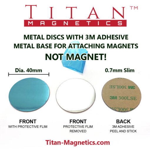 Ultra Slim Metal Disc Base for magnets with Adhesive dia 40mm Dimensions
