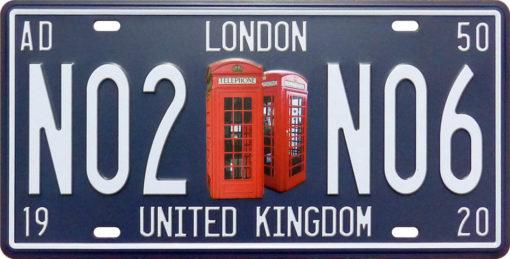 Vintage Car Plate London UK N02N06